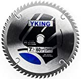 YKing Tool 7 1/4'' 60 Teeth TCT Circular Saw Blade for Hardwood, Softwood