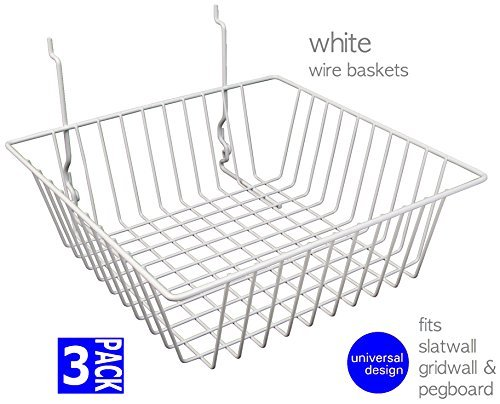 Only Garment Racks #5612W (Pack of 3) Only Garment Racks White Wire Baskets for Gridwall, Slatwall and Pegboard - White Finish - Set of 3