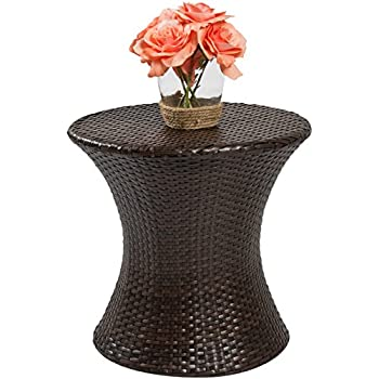 Perfect Best Choice Products Outdoor Patio Furniture Wicker Hourglass Accent Side  Table