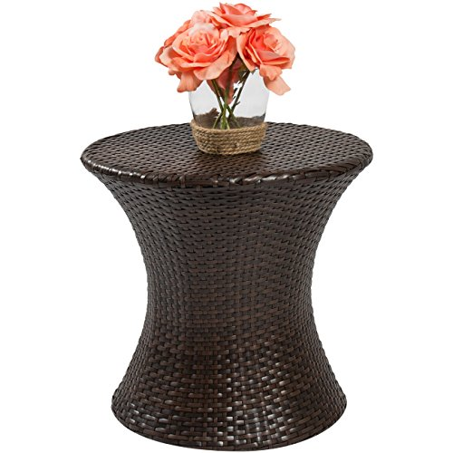 Best Choice Products Outdoor Patio Furniture Wicker Hourglass Accent Side Table Porch Patio Place Furniture Outdoor