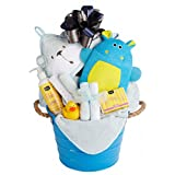 Newborn Baby Boy Bath Gift Basket with Hooded Towel, Washclothes, Organic Soap and Lotion
