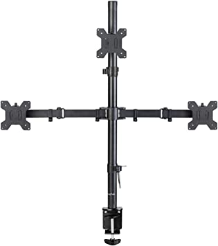 Suptek Triple LED LCD Monitor Stand up Desk Mount Extra Tall 31.5 inch Pole Heavy Duty Fully Adjustable Stand for 3 / Three Screens up to 27 inch (MD6843)