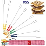 Premium Marshmallow Roasting Sticks - 8 Smores Skewers & Hot Dog forks - Fun Camping Cookware Perfect for Patio Fire Pit & Campfire Cooking for Kids and Adults. Bonus - Storage Bag & 2 Cooking E-books