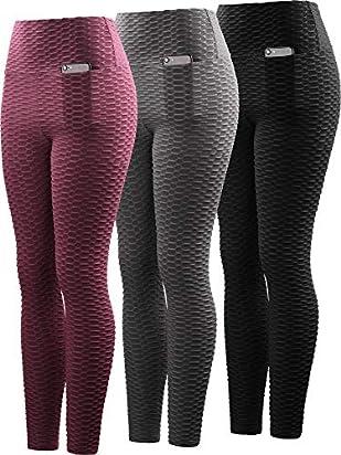 Neleus Women's 3 Pack Tummy Control High Waist Leggings Out Pocket,9036,Black/Grey/Maroon,2XL,EU 3XL