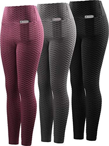 Neleus Women's 3 Pack Tummy Control High Waist Leggings Out Pocket,9036,Black/Grey/Maroon,S,EU M by Neleus (Image #7)