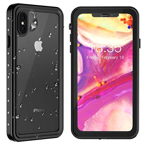 iPhone Xs Max Waterproof Case 2018 Released 6.5 inch, SPIDERCASE Dustproof Snowproof Shockproof IP68 Certified, iPhone Xs Max Case with Built-in Protector Full Body Cover for iPhone Xs Max (Black)