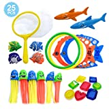 HonShoop Diving Pool Toys for Kids, Underwater Swim Toys with Storage Bag, (8)Pirate Treasures, (6)Jellyfish, (4)Tropical Fishes, (4)Diving Rings, (2)Sharks and Fishing Net for Pool Games Play(25pcs)