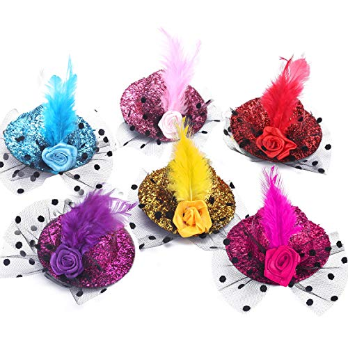 12 Pack Tea Party Hats Mini Hat Hair Clip Fascinator Hats Clip for Women Decorative Hair Accessories Lady Favor with Flowers, Feather, Ribbon, and Netting