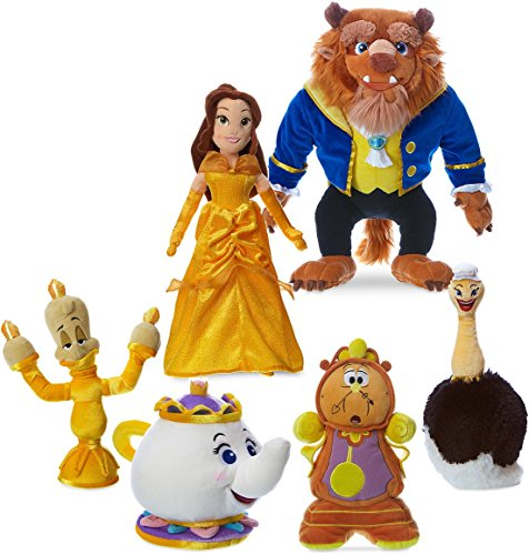 Belle-Beast-Mrs. Potts-Cogsworth-Lumiere-Fifi Beauty and The Beast Movie Cartoon Plush Figure Doll Toy Collector Set Disney Store
