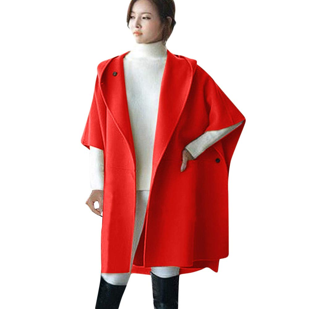 HHmei_Coat Women's Loose Batwing Outwear, Half Sleeve Knee Wool Poncho Winter Warm Coat Jacket Cloak Cape Parka HHmei_Coat_Oct17_1826