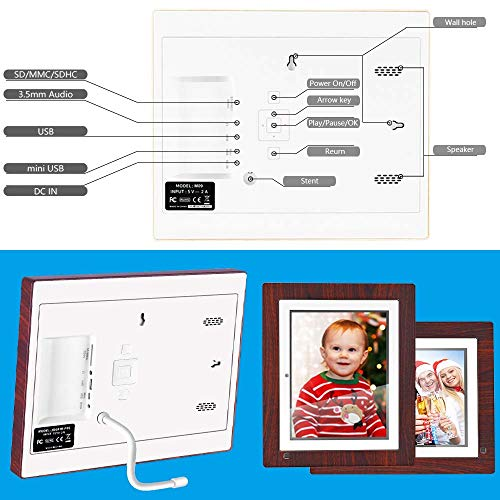 BSIMB Digital Picture Frame Digital Photo Frame 9 inch IPS Display 1067x800(4:3) Hi-Res Digital Photo & HD Video Frame and Motion Sensor USB/SD Card Playback Infrared Remote Control M09 by Bsimb (Image #3)