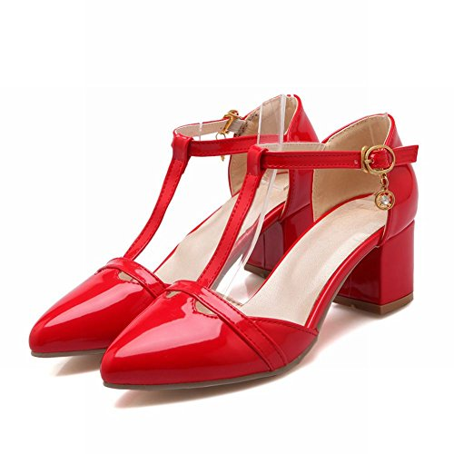 Carol Shoes Fashion Womens T-strap Buckle Chic Pointed-toe Chunky Mid Heel Sandals Red hYOhKqd2