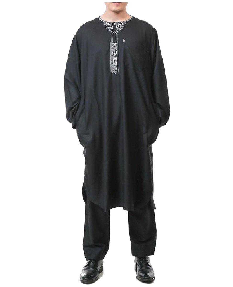 Coolred Men Islamic Embroidery Summer Back Cotton Muslim Salwar Suit Sets Black 52