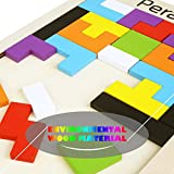 Peradix Colorful Wooden Brain-Teaser Tetris Tangram Jigsaw Puzzle Toy for Preschool Imagination Intellectual Educational