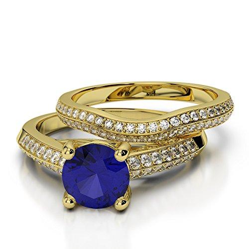 Or jaune 18carats 1CT G-H/VS sertie de diamants ronds Cut Saphir et mariée Bague de fiançailles et ensemble de Agdr-2043