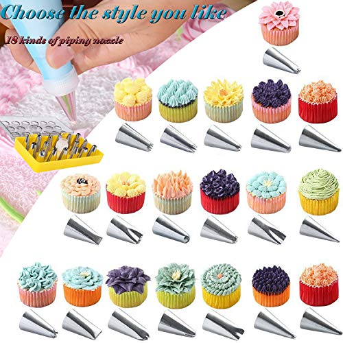 Piping Tips Set 18 pcs Cake Decoration tips For Cupcake Decorating Supplies,Cake Buttercream Flower Maker,Cake DIY Decorator