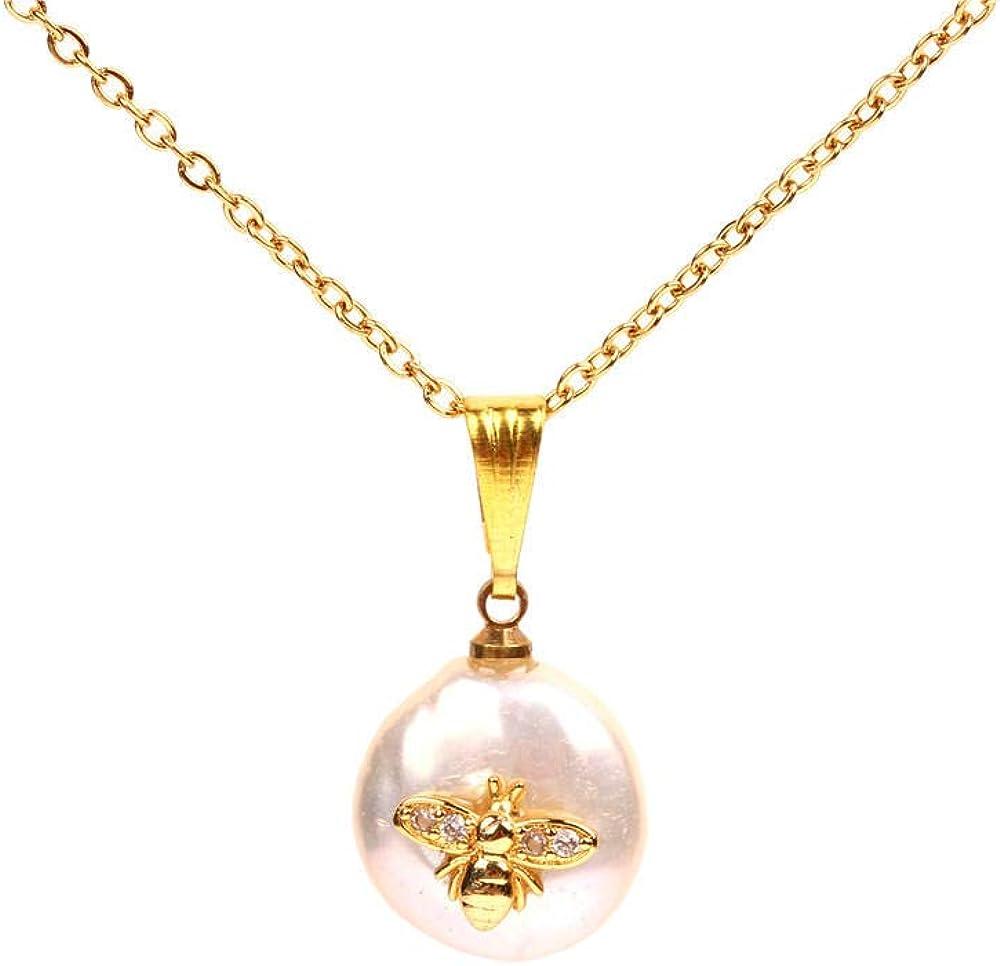 Drreny Colgante de Luna de Estrellas Micro-tachonadas Creativas Collar de Perlas con Forma barroca Cadena de clavícula