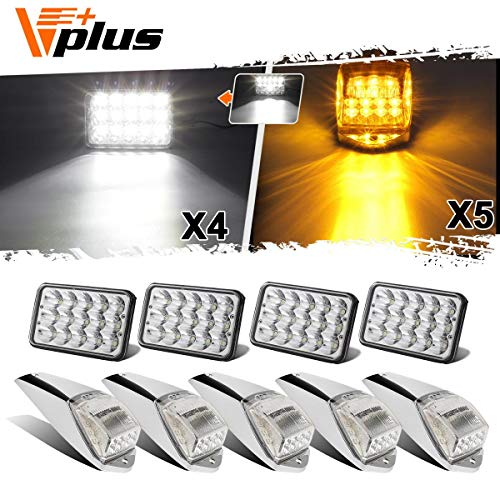 (Partsam 4pc 4x6 inch LED Headlight Sealed Dual Hi/Lo Beam White Rectangular H4651 H4666 H4656 + 5pc Cab Marker Roof Light 17 LED Amber/Yellow Clear Lens Compatible with Peterbilt, Kenworth, Mack)