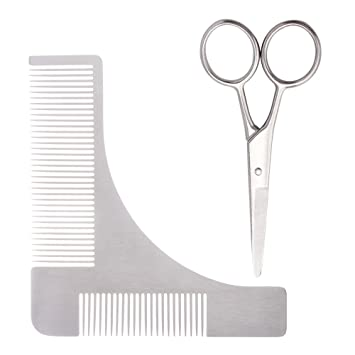 amazon com beard shaping tool and scissors kit stainless steel