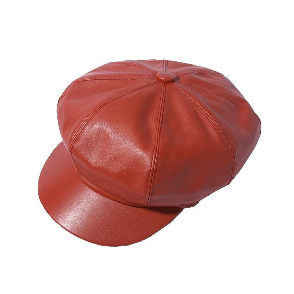 YDS SHOP Hats Newsboy PU Cabbie Cap Beret Cloche Visor Baker Boy Women (Color : Red, Size : 53-58CM) by YDS SHOP