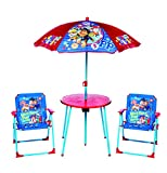 Paw Patrol Childrens 4 Piece Garden Patio Furniture Chairs Table Parasol Set