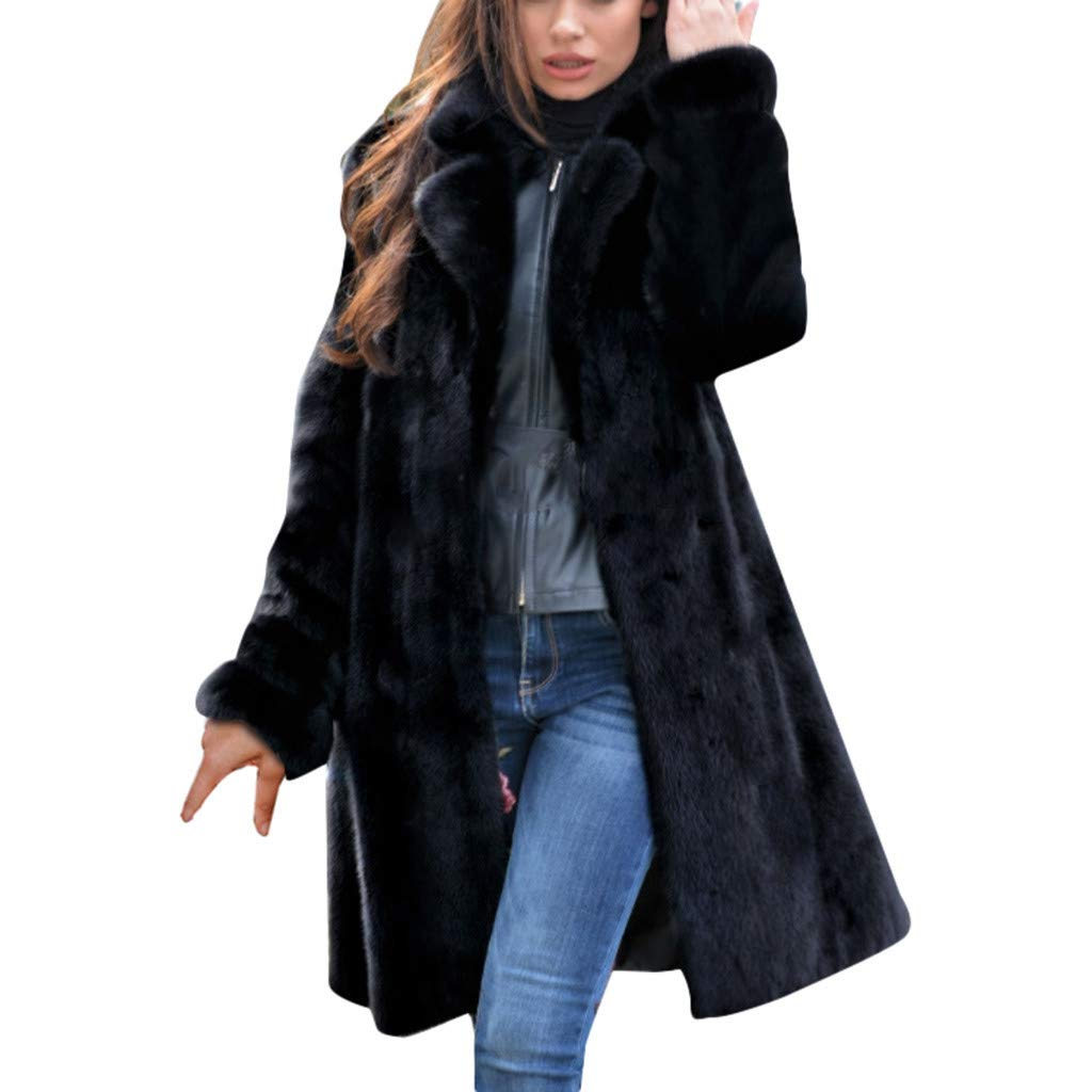Women Long Freece Coat Ladies Warm Faux Fur Coat Jacket Winter Casual V-Neck Solid Plush Hooded Outerwear Black by Sinzelimin