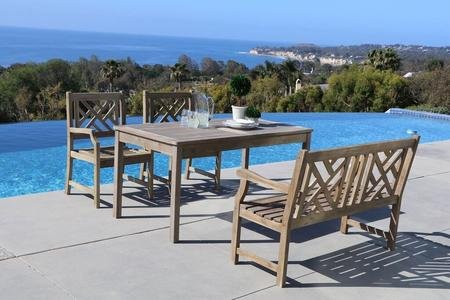 Vifah V1297SET18 Versailles Outdoor 4-Piece Hand-Scraped Wood Patio Dining Set with 4-Foot Bench - Included 1 rectangular table with umbrella hole, 2 chairs, 1 bench No cushion or pillows included 1-year warranty against manufacturing defects - patio-furniture, dining-sets-patio-funiture, patio - 51vaTZ6tDGL -