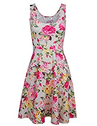 Tom's Ware Womens Casual Fit and Flare Floral Sleeveless Dress TWCWD054-BEIGE-US XXL
