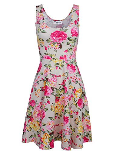 TAM WARE Womens Casual Fit and Flare Floral Sleeveless Dress TWCWD054-BEIGE-US -