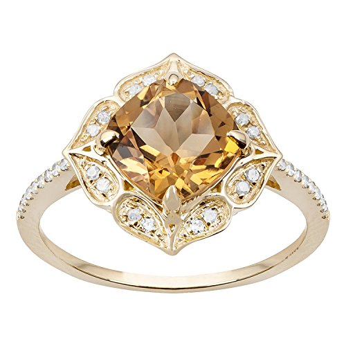 10k Yellow Gold Vintage Style Cushion Citrine and Diamond Ring (Diamond Citrine And Ring)