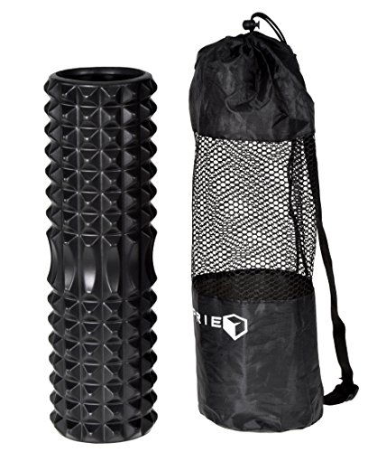 IMPRIE Exercise Foam Roller 18 inch Deep Tissue Massager - Myofascial Release Trigger Point Recovery Massage Rollers - Post Workout Crossfit Yoga Pilates Back Massager. BONUS Carry On Bag