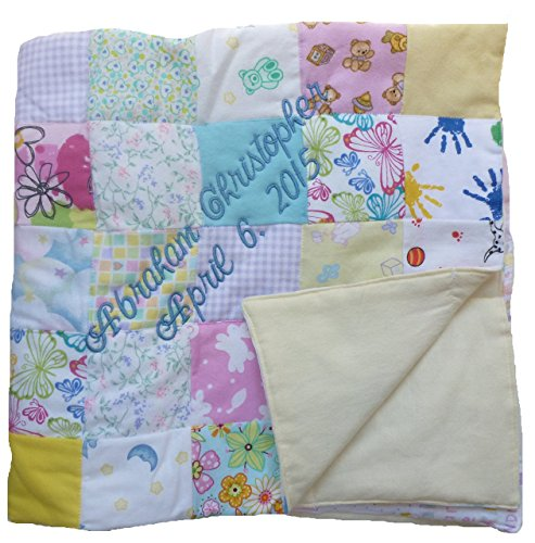 Custom Embroidered, Personalized, Cotton Flannel Patchwork Q