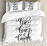 Live Laugh Love Duvet Cover Set Queen Size by Ambesonne, Hand Lettering Style Motivational Live Laugh Love Quote Monochrome Design, Decorative 3 Piece Bedding Set with 2 Pillow Shams, Black White