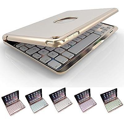 iPad Mini keyboard case ,elelcfan 7 Colors LED Backlit Bluetooth Wireless Keyboard Case Smart Case for iPad Mini 1/Mini 2/Mini 3 7.9 inch