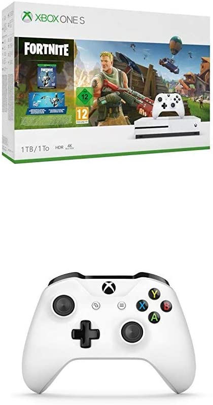 Microsoft Xbox One S - Consola de 1 TB, Color Blanco con Fortnite + Mando Inalámbrico, Blanco (PC, Xbox One S): Amazon.es: Videojuegos