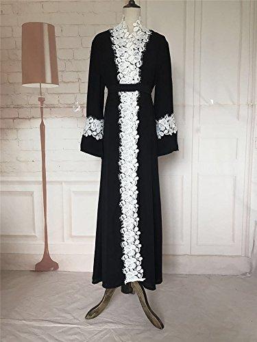 YI HENG MEI Women's Elegant Long Sleeve Muslim Maxi with White Lace Hem for Islamic Abaya,Black,L by YI HENG MEI (Image #1)