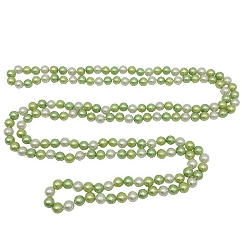 (Long Imitation Pearl Multi Color Glass Bead Necklace - Assorted Colors (Light Green & White))