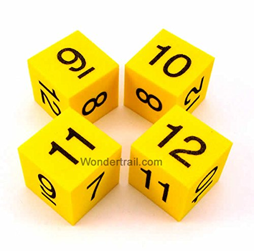 Wondertrail WKP13774E4 Number 7-12 Foam Dice D6 Yellow with Black Numbers 25mm (1in) Set of 4 Dice