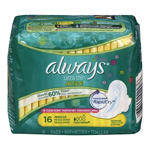 Always Ultra Regular With Wings, Clean Scent Thin Pads 16 Co