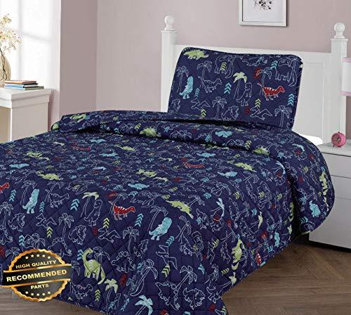 Pieced Jacquard Comforter - Werrox T-Rex Multi Dinosaur Navy Kids Boy Soft Bedspread Coverlet Quilt Shams 2/3PC Full Size | Quilt Style QLTR-291267277
