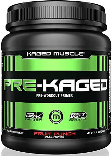 KAGED MUSCLE, PRE-KAGED Pre Workout Powder, Fruit Punch, L-Citrulline + Creatine HCl, Boost Energy, Focus, Workout Intensity, Pre-Workout, Fruit Punch, 638 Grams