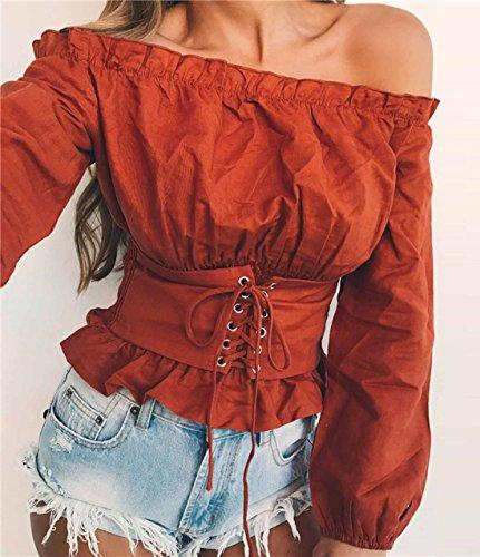 Barca Manica Maglietta Tops Lunga Maglie Unita Tunica Donne Blouse Bluse Moda Sexy Foglia Tinta Bendare Rosso Scollo T shirt A Estivi S0Xx8Sn