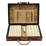 Ireav Travel Mahjong - Portable Mah jongg Archaistic Leather Box Manual in English -144 PCS