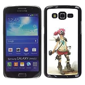// PHONE CASE GIFT // Duro Estuche protector PC Cáscara Plástico Carcasa Funda Hard Protective Case for Samsung Galaxy Grand 2 / Goth Girl Soldado /