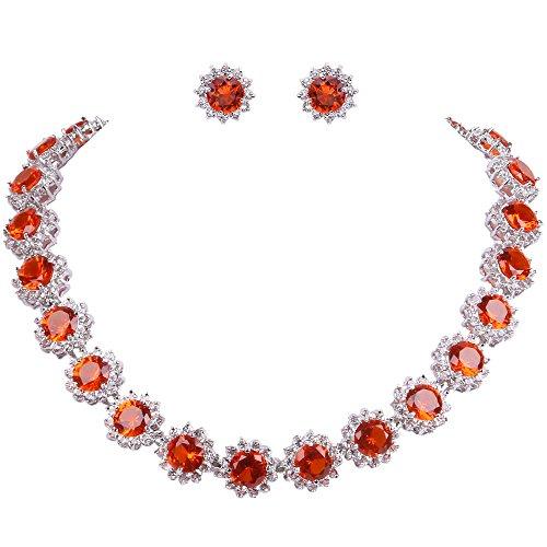 EVER FAITH Elegant Star Round Prong Orange CZ Birthstone Necklace Earrings ()