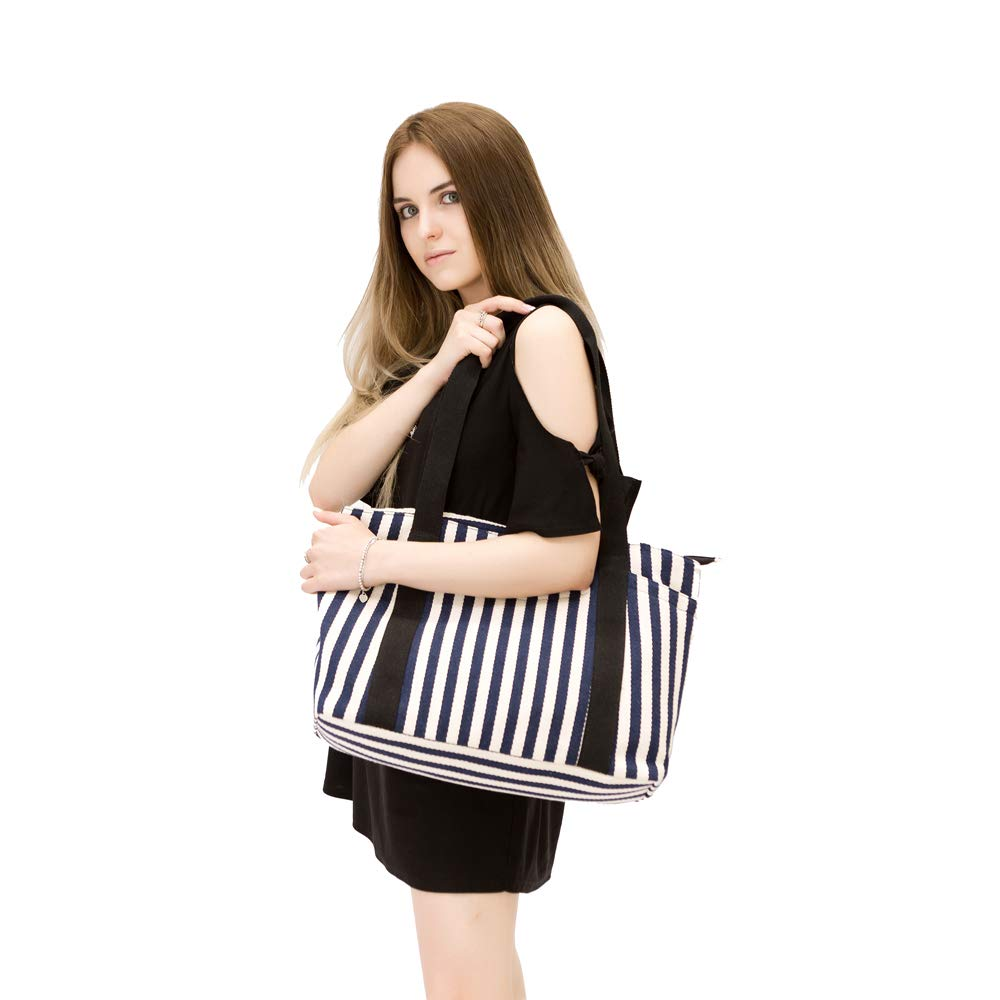 Canvas Tote Bag with Multiple Pocket/Zipper Closure Sholuder Bag/Travel Bag for Weekend/7 Pocket/Perfect Bag for Gift by sornean (Image #4)