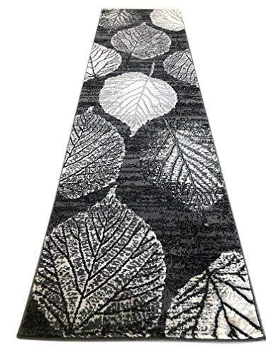 - Lifestyle Modern Tropical Runner Area Rug Gray Silver Grey & Black Leaf Vine Design 699 (2 Feet X 7 Feet 1 Inch)