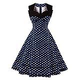 CL Women Vintage 50s Sleeveless Dress Style Patchwork Polka Dot Bowknot Vintage PartyMidi Swing Dress, Navy, Medium