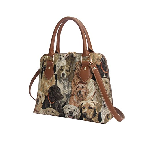 Handle Tapestry Women Top LAB CONV Bag Labrador Handbag Signare Bag Body Cross Dog Shoulder 1tRnHandx