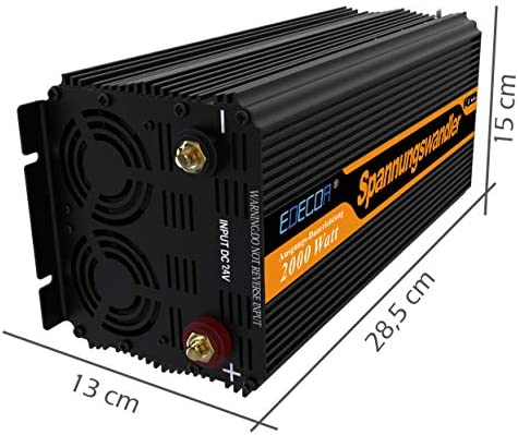 Edecoa Inverter 2000 W Voltage Converter 24 V 230 V Modified Sine Wave Inverter 24 V 220 V Lcd With Remote Control And Two Usb Ports Auto